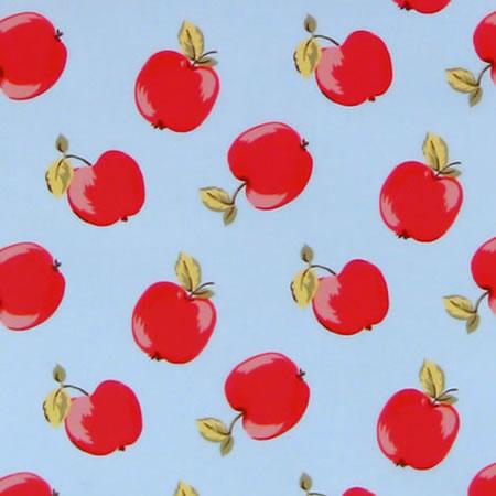 Retro Apples Duck Egg Gloss Oilcloth