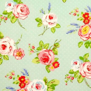 English Rose Duck Egg Matt Oilcloth