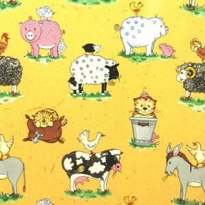 Animal Friends Sand Gloss Oilcloth