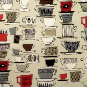 Cups and Saucers Berry Gloss Oilcloth
