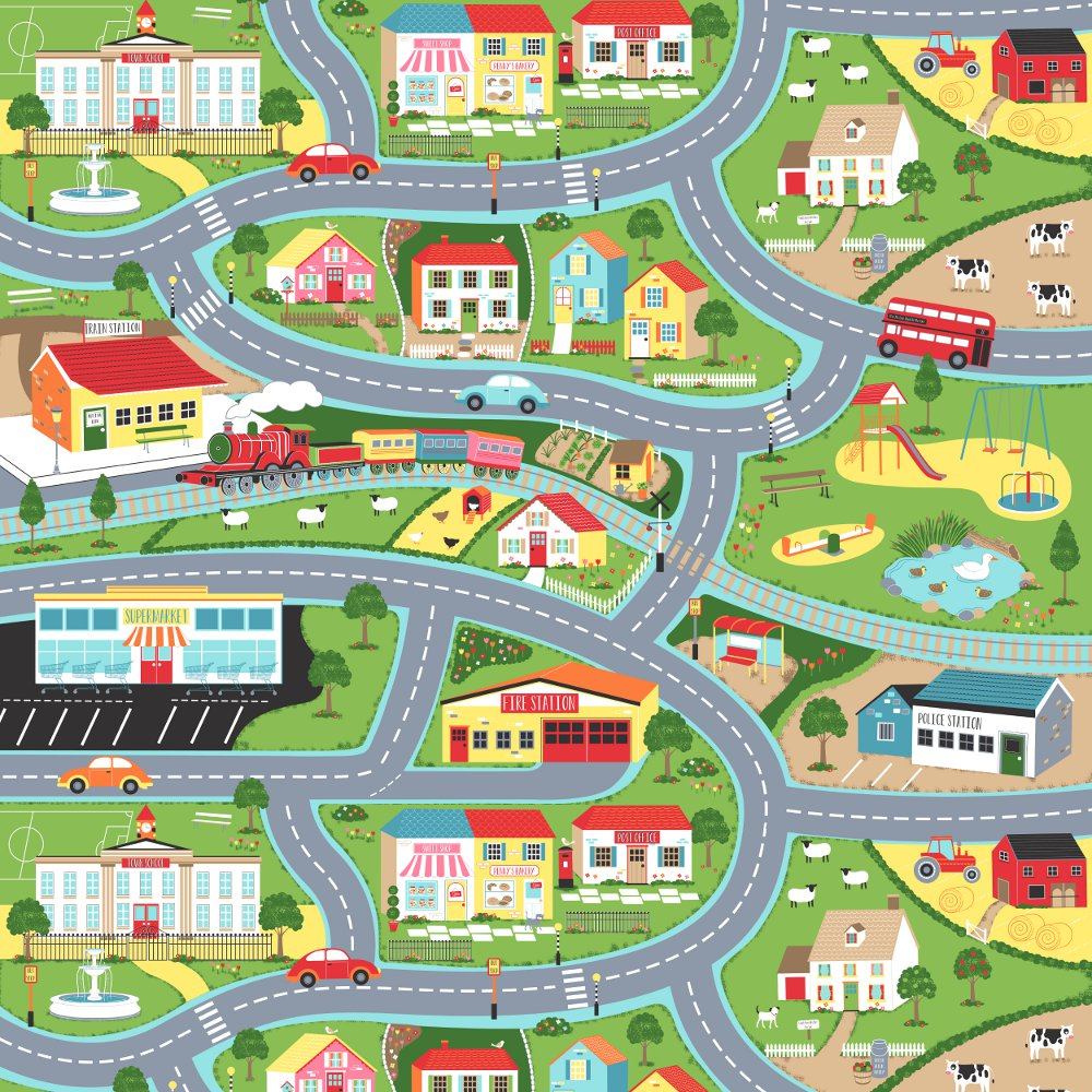 Road Map Gloss Oilcloth Play Mat Only Oilcloth